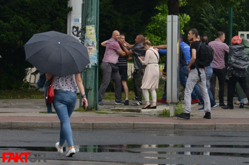 A photographer and a cameraperson were assaulted by several war veterans during a protest in the capital Sarajevo