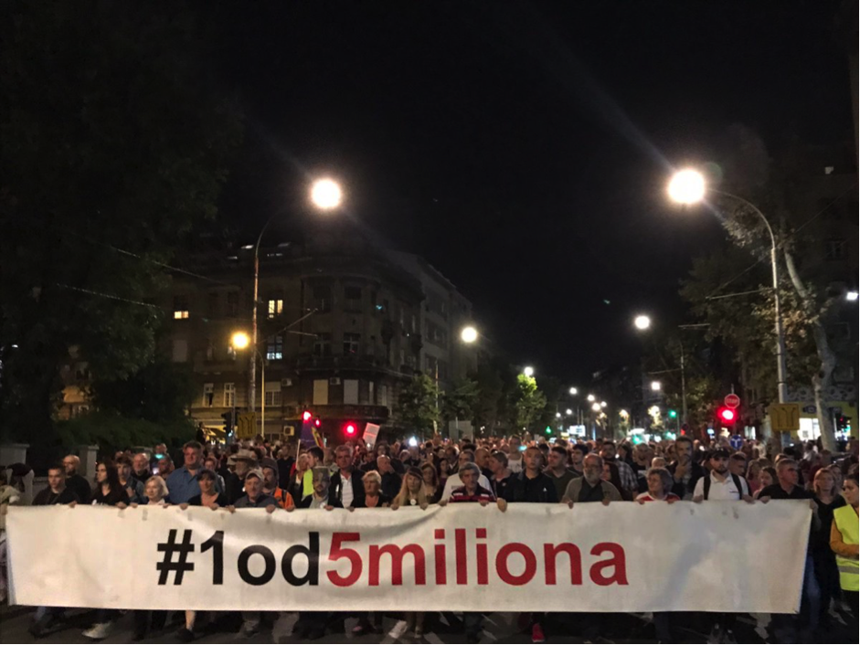 Protestors gather every weekend under the banner'one in five million' to demand an end to state propaganda